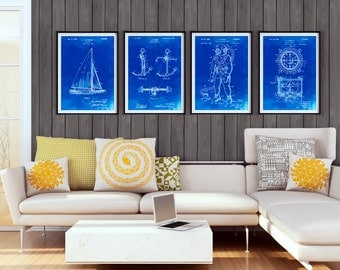 Nautical Group of 4 Patent Posters, Ship Art, Sailing Decor, Boating Gift, PP1187