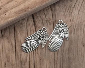 Holiday Guardian Angel Charms - Christmas - Top Connector - Silver - No Lead - 20mm x 25mm - 06 Charms