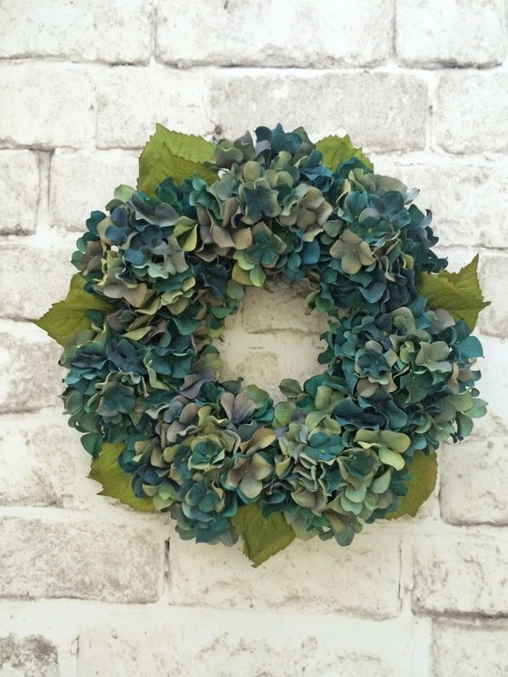 Teal hydrangea wreath fall candle table centerpiece