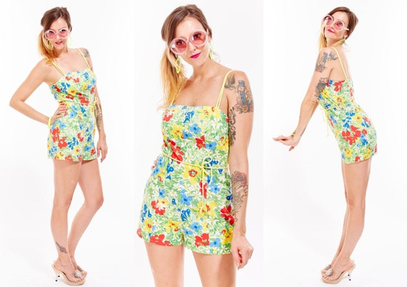 Vtg 60s Floral ROMPER Jumpsuit Onesie Retro Bathing suit PIN UP Rockabilly Resort Old Hollywood Mini Dress Mod Boho Kitschy Babydoll Dolly