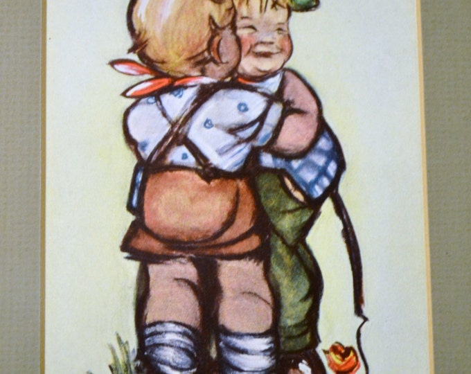Hummel Print Boy and Girl Kiss Framed with Glass Vintage Art Germany PanchosPorch