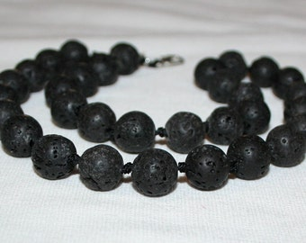 12mm Lava stone beads. Black lava stone.