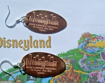 Disneyland Pressed Penny Earrings- Disneyland Logo, CA
