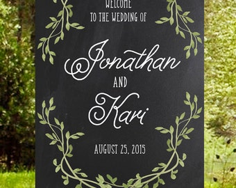 Instant Download - Rustic Wedding Welcome Sign with Laurel Wreath - Handwritten with Chalk Background