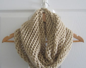 Wide Open Knit Scarf - Extra Large Hand Knit Beige Infinity Scarf - Eco Friendly