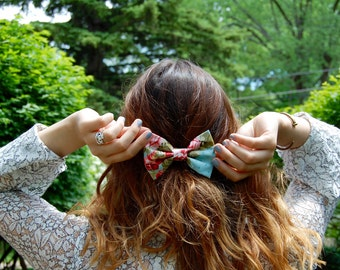 Pink and Blue Vintage Floral Bow