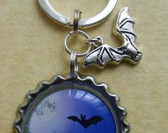 Bat & Castle Bottlecap Keyring Charm Birthday Gift Present Gothic