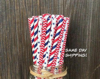 75 Stars and Stripes- Red, White and Blue Paper Straws- 4th of July Patriotic  Supply