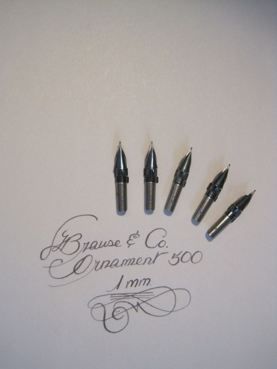Lot Of 5 Calligraphy Dip Pen Nibs Brause Co No 500