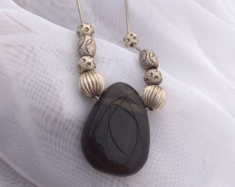 Smokey Quartz and Sterling Necklace