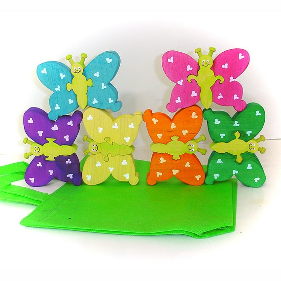 Rainbow Butterfly Stacking Puzzles Game Color Matching Puzzles with Fabric Tote Bag