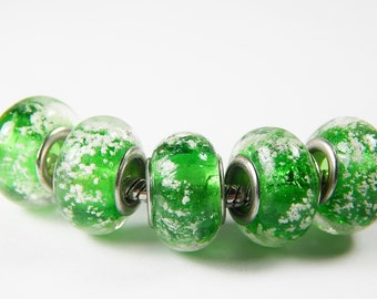 1x Murano Bead - Green With Bubbles - Glass Beads - Lampwork Beads - Fits European - A138