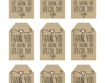 wedding favor tags, thank you printable tags, digital thank you tags ...