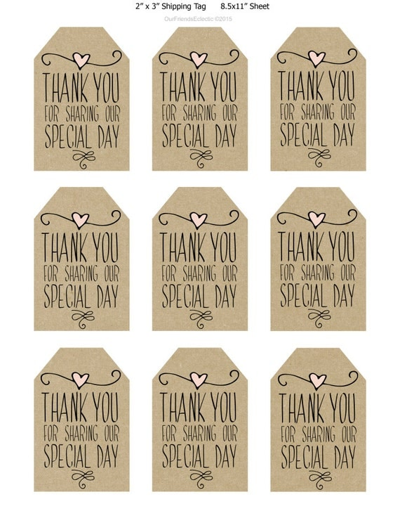 Wedding Favor Tags Thank You : wedding favor tags, thank you printable tags, digital thank you tags ...