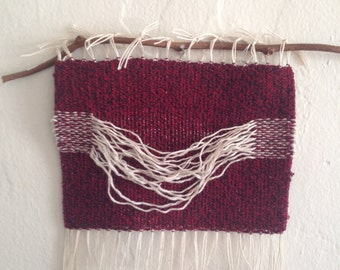 Woven Wall Hanging•Handwoven Wall Hanging•Fiber Art•Small Hand Woven Wall Art•Neutral, Red, Cream Home Decor