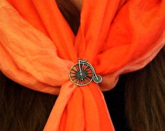 Penny Farthing Bicycle Scarf Ring, English Pewter, Handmade in Great Britain, h