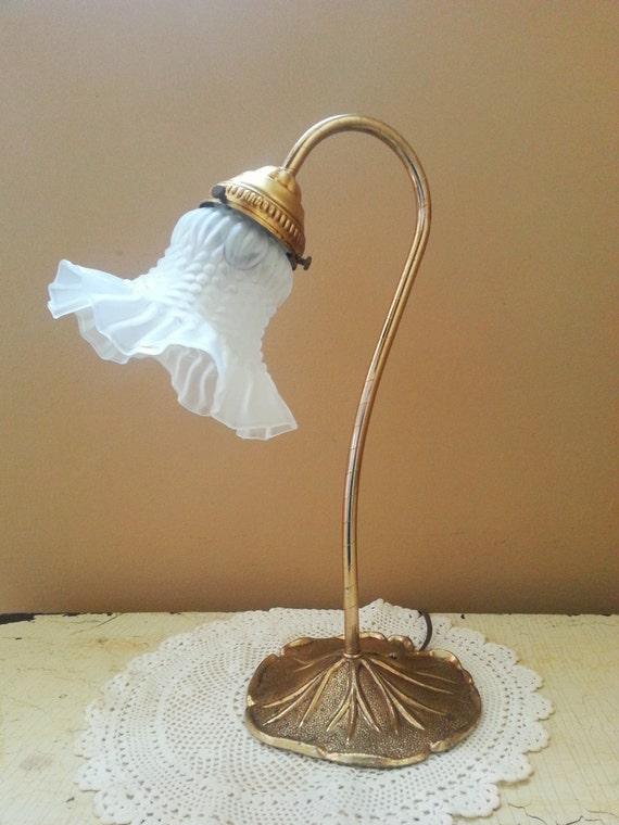 Vintage Art Nouveau Gooseneck Accent Lamp Lily Pad Base