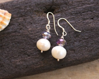 Sterling Silver Earrings. Fresh Water pearls. Cristals