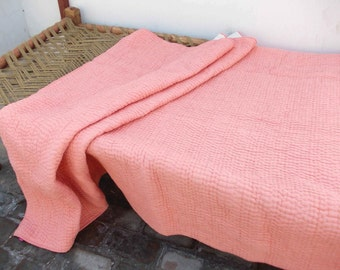 Coral quilted bedspread, stripe pattern, cotton kantha quilt, 100% cotton, 90X108 inches