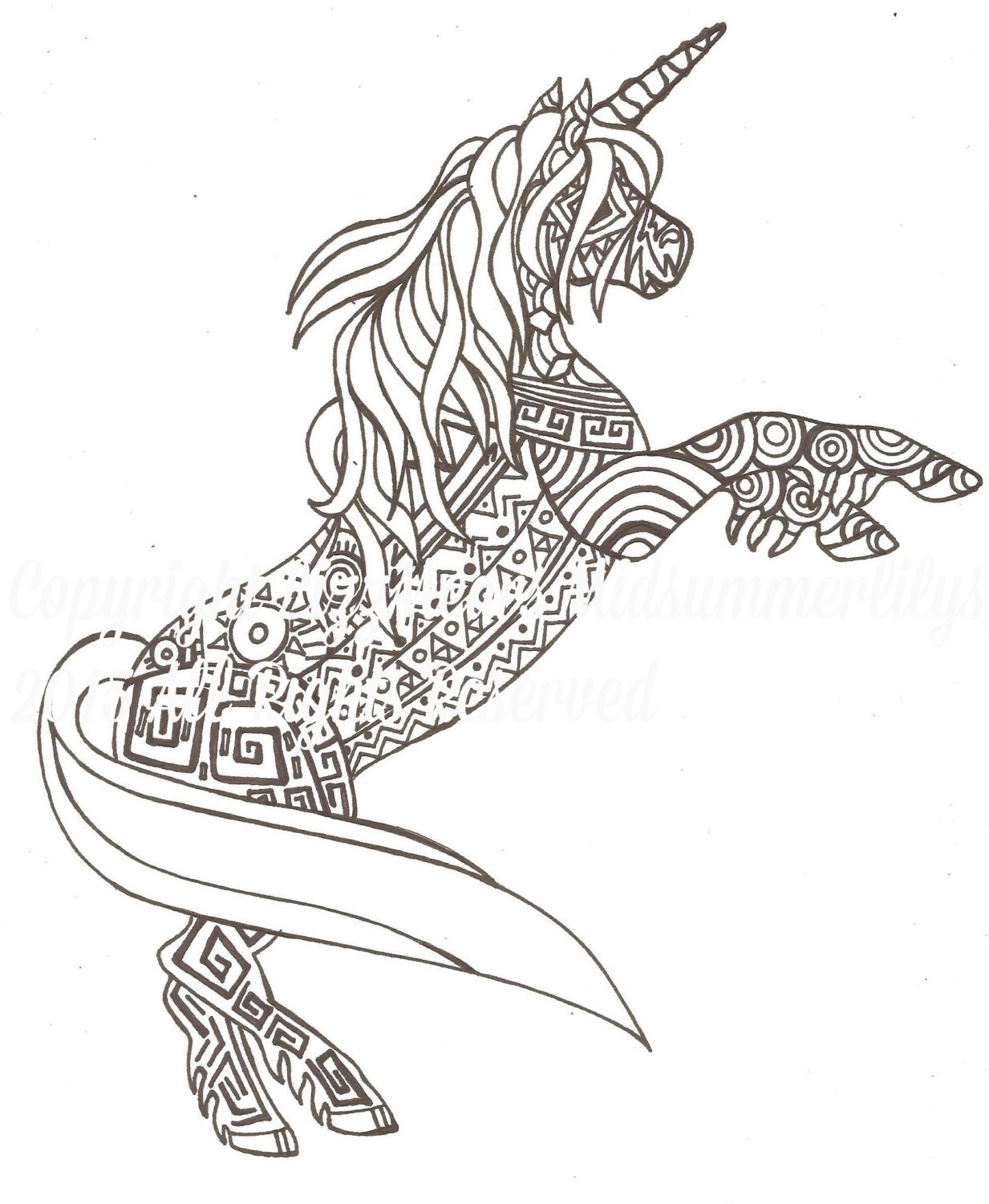Aztec Coloring Pages Pdf : Aztec unicorn grown ups adult colouring page by lizzmearsiduk