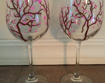 Hand Painted Cherry Blossom Wine Glasses - Set of 2