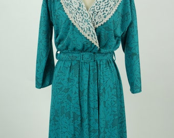 Vintage 1980s Leni Leni Teal Floral Dress Size 12 / M