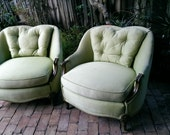 Fine Fat French Overstuffed Heart Chairs