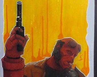 Art; Hellboy Fan Art; Dark Horse Comics; Original Painting; Signed Original 1 of 1