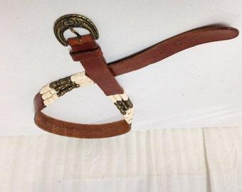 Free Ship Belt Beaded Leather Boho/Buckle Made in Turkey