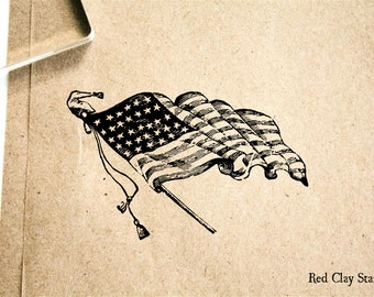 American Flag Rubber Stamp - 2 x 2 inches