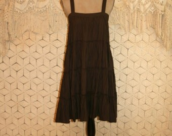 Brown Babydoll Dress Cotton Summer Dress Hippie Boho Sundress Sun Dress Sleeveless Brown Dress Beach Dress Small Womens Clothing