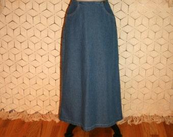 90s Denim Skirt Vintage Denim Maxi Skirt Long Denim Skirt Women Skirts Small Vintage Liz Claiborne Size 4 Skirt S Small Womens Clothing
