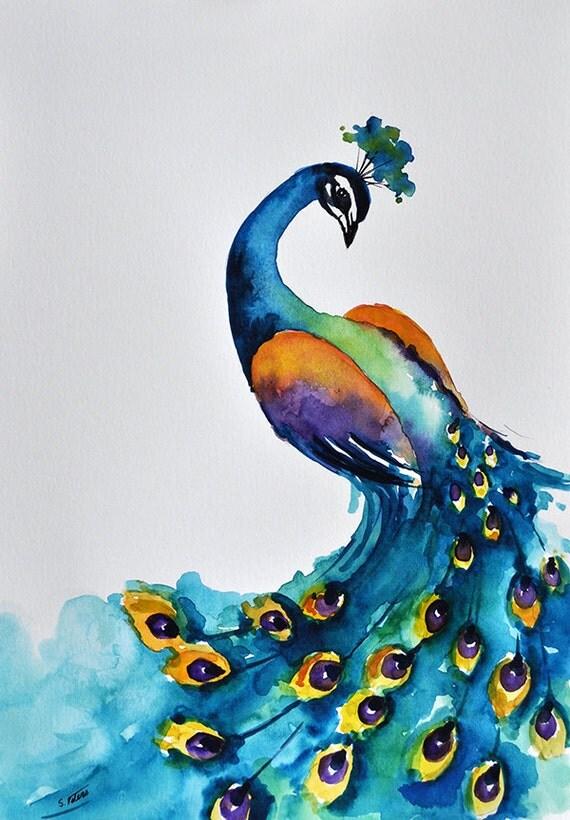 original peinture l 39 aquarelle paon color dark turquoise. Black Bedroom Furniture Sets. Home Design Ideas