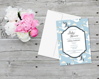 Baby Shower Invitations Storks and Clouds in Blue