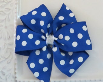 University of Memphis Polka Dot Bow, Blue and White Bow