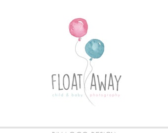 CLEARANCE - Watercolor DIY Business Logo, Pastel, photography, watermark, balloon, newborn, babies, infant, blue balloon, pink balloon