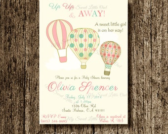 Hot air balloon invitation - balloon printable - balloon invite - balloon birthday - hot air balloon baby shower