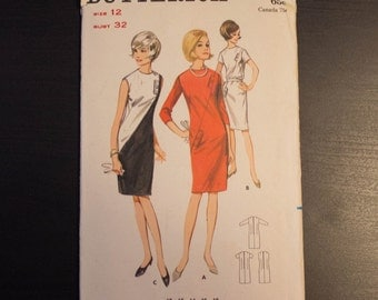 1960's Butterick 3923 One Piece Dress or Top Pattern Size 12- Uncut