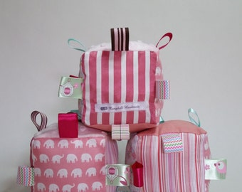 Taggie Cubes with Bell Rattle, Shades of Pretty Pink, Elephants, Stripes, Teddies