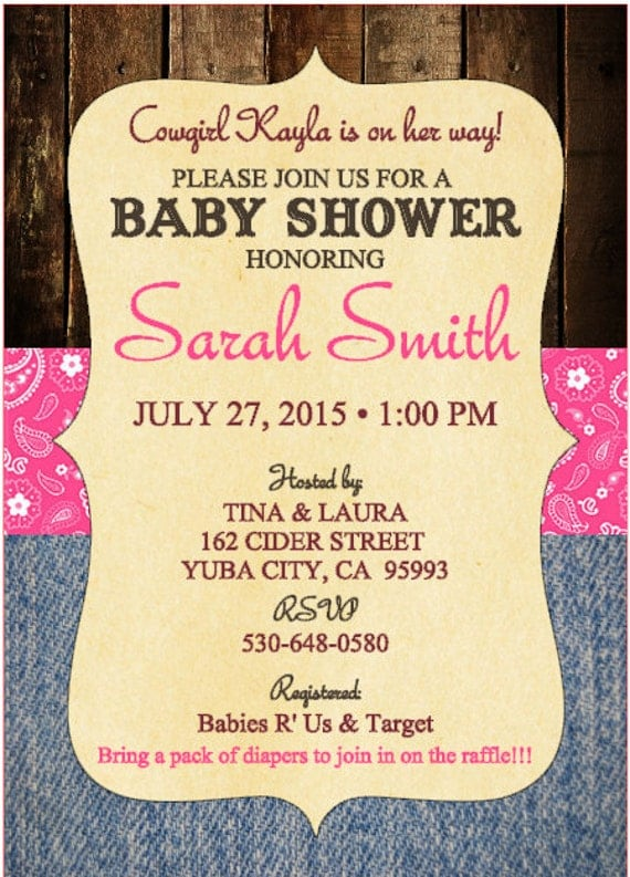baby shower invitations country theme set of 10 printed invitations