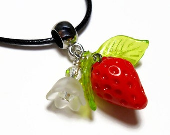 Strawberry necklace, strawberry pendant necklace, fruit charm necklace, strawberry blossom, red strawberry jewelry, crystal charm bracelet
