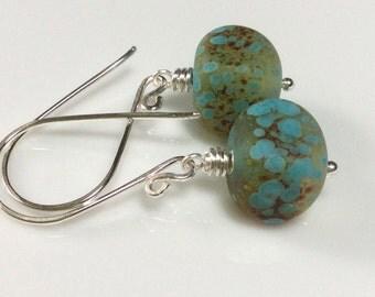 Turquoise Glass Earrings / Rustic Glass Earrings / Lampwork Glass Earrings / Sterling Silver Earrings / Glass Dangle Earrings