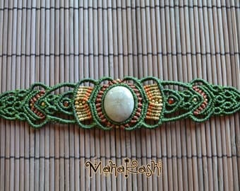 """Macrame bracelet """"Ancient Vibe""""with Micraster Fossil stone"""