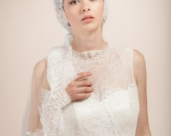Wedding veil, bridal cap veil, Bridal Juliet veil with French lace trim, mantilla veil, lace bridal cap, -- Style 359