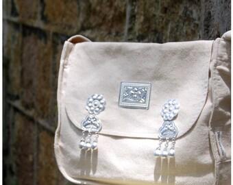 SALE 50% OFF Linen satchel, woven ethnic bag, school bag, messenger bag, day bag, large cross shoulder bag