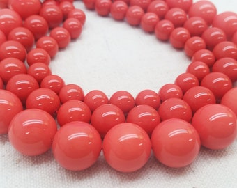 "MOP Shells  Coral color Smooth Beads 10mm, 12mm, & 14mm - 15.5""L"