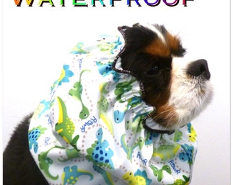 Waterproof snood with Dinosaurs print dog snood/ dog snood/ dog hat/ dog accessories/ ear coverings