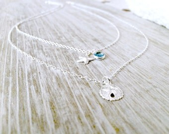 Layered Sand Dollar Necklace Personalized Birthstone Necklace Silver Starfish Necklace Swarovski Birthstones Beach Wedding Bridesmaid Sets