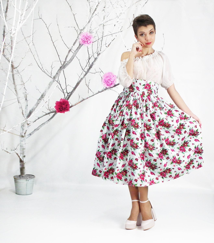 Midi Skirt High Waist Full Skirt Tea Length Skirt 50's