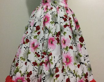Retro style skirt-Red Pink White Floral high waist skirt